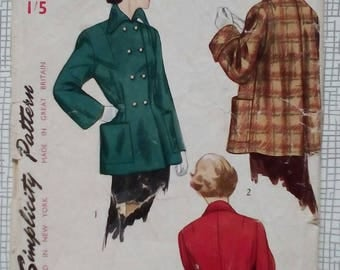 "1950s Topper Jacket Coat - 32"" Bust - Simplicity 2949 - Vintage Sewing Pattern"