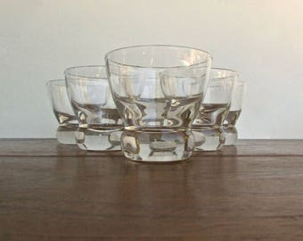 "Eva Zeisel Federal Prestige, 6 Monogrammed ""F"" Old Fashioned Whiskey Glasses, w/ Doorknob Base, Iconic Mid Century Modern Design"