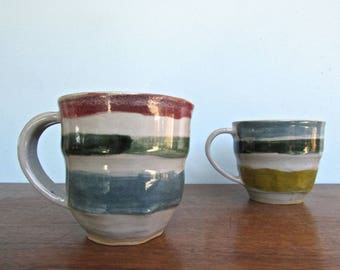 Naive Style Studio Art Pottery Childlike Pair of Striped Mugs - Loose Brushwork & Faceting on Grey Clay Hand-Built Mugs