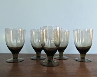 Orrefors Vintage Modern Glasses, ORR71 by Orrefors, Set of 7 Water Goblets, Scandinavian Modern Barware