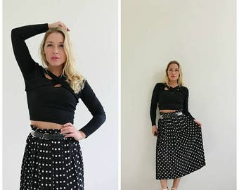 ANNIVERSARY SALE 1990s Contrast Dot Skirt /// Size Small to Medium