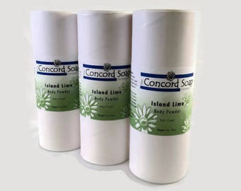 Island Lime Handmade Hair & Body Powder - no talc, talc-free, powder deoderent, natural clays, scented, dusting, dry shampoo,prevent chafing