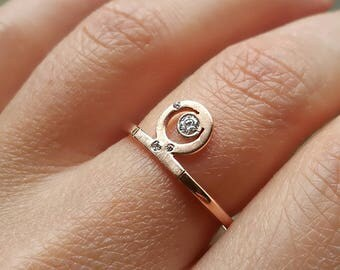 Rose gold ring. Diamond ring. 9K gold ring. 375 gold ring. Moon ring. Multistone ring. Crescent ring. Boho ring. To the moon and back.