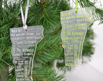 NEW! Etched Favorite VT Breweries Ornament  - Beer Ornament - Christmas Ornament - Beer Gift - Sun Catcher