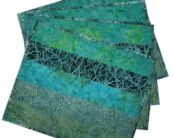 Quilted Placemats in Shades of Green Batik