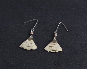 Birch bark earrings, Ginko leaves