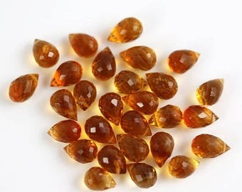 10% OFF SALE Madeira Citrine Briolette Drops - Set of 30 - Citrine Beads - 5 to 7mm