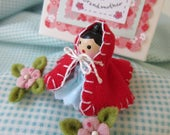 Little Red Riding Hood - A Pin Topper Doll with Two Itty Bitty Blossoms and Ready to Wander