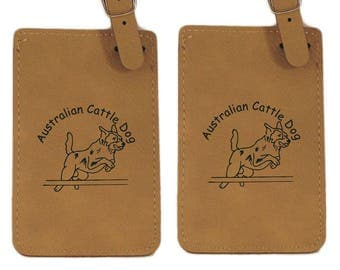 Australian Cattle Dog Jumping Luggage Tag 2 Pack L1296  - Free Shipping
