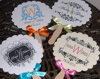 Wedding Fans, Wedding Monogram, Paper Fans, Monogrammed Wedding Fan, DIY, Do it yourself, wedding fans - You assemble, we create