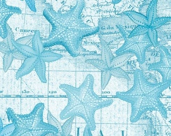 Beach Fabric Cotton Quilting High Tide Aqua Starfish 42817-1 (1/2 yd) cuts Quilting Sewing Crafting Fabrics Material Quilts