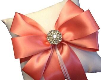On Sale 20% Off Coral Ring Bearer Pillow - Ring Bearer Pillow Ivory - Wedding Ring Pillow - Bridal Pillow - White Ring Pillow - 30 Colors Av