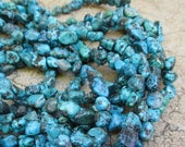 SALE 20% Off Natural Turquoise Nugget Beads Campitos Bisbee Arizona,  Natural Blue Gemstone ,  8mm 10mm