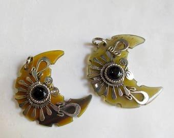 20% OFF SALE Crescent Moon Silver Buffalo Horn Garnet Pendant,  Celestial Pendant Handmade