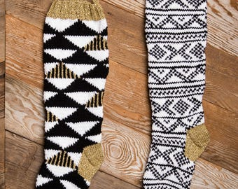 Christmas Stocking, Christmas Stocking Patterns, Christmas Stocking Design, Christmas Knitting, Black and white stocking, Triangles