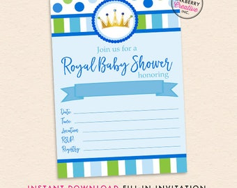 Royal Prince Baby Shower - Fill in the Blank Baby Shower Invitation - INSTANT DOWNLOAD PDF - Little Prince Baby Shower Printable Invite