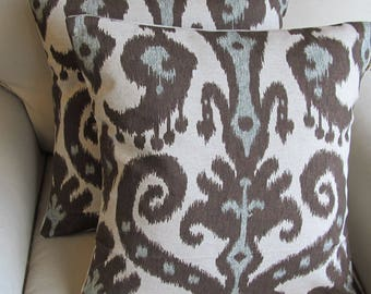 Custom order Ikat  Pair of Pillow Covers in Marrakesh Cobblestone fabric 20x20 inches