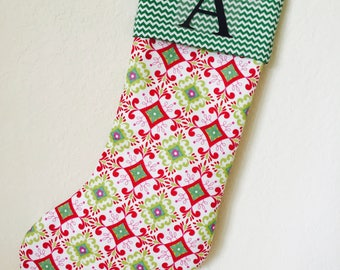 MONOGRAM CHRISTMAS STOCKING  - Personalized Christmas Stocking Modern Christmas Stocking. Monograming, name or initial.
