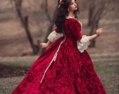 Sale! In Stock Beauty and the Beast Halloween Costume Belle Red Holiday Gown  Medium