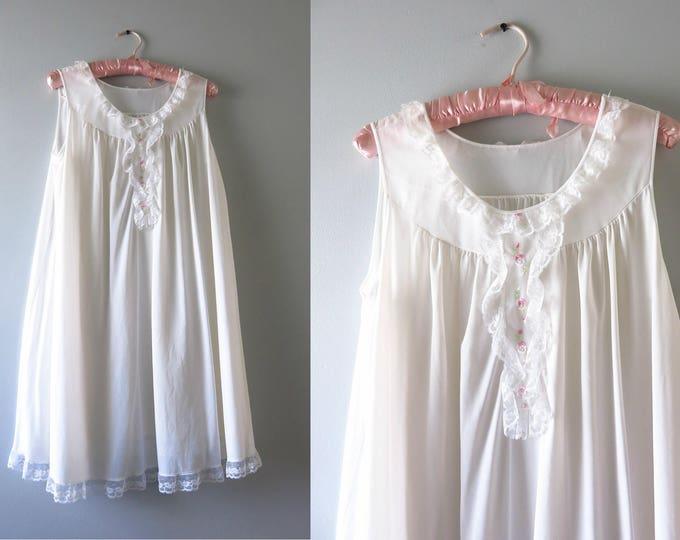 Vintage White Nightie | 1970s White Embroidered Pink Flowers Nightie M/L