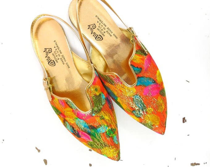 Vintage Genie Shoes | 1960s Gold Watercolored Genie Shoes Flats Slingbacks Size 6