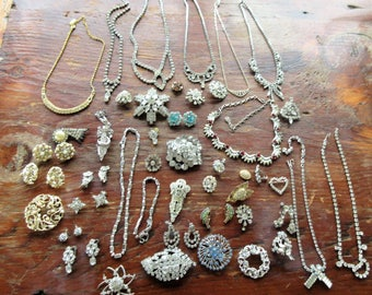 Huge LOT Of Vintage RHINESTONE JEWELRY-Over 40 Pieces-Most Intact