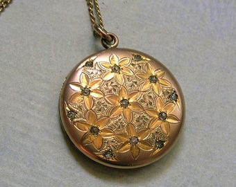Antique Edwardian Gold Filled Locket Necklace, Old Gold Filled Locket, Antique Locket Necklace, Gift for Her (L276)