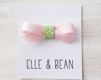Baby Pink & Wasabi Lilly Bow- RTS Felt and Glitter School Girl Bow. Clip or Headband.