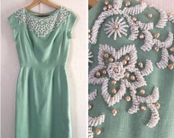 50's Beaded Day Dress in Mint Green