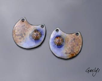 Email - Paire de plaque cuivre émaillé pour boucles d'oreille - bleu violet/ brun - murine - Emaux Gaelys