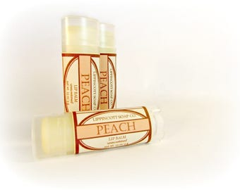 Peach Lip Balm - Unsweetened Lip Balm - Phthalate Free - Fruit Lip Balm - Beeswax Lip Balm - Gift for Her