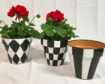 Painted terra cotta Pots Set of 3 // Painted Planter // Whimsical Painted Planters // Terra Cotta pots