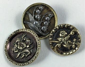 Group of Three Antique Buttons with Flowers, Antique Picture Buttons of Flowers