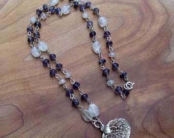 Moonlight Leaves – Kyanite & Moonstone Necklace with Silver Plated Leaf Pendant