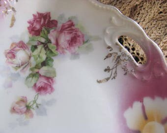 Antique Large Gold Gilted Roses Plate, Pink and Green Roses,Triple Crown Scalloped Plate, From Germany