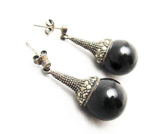 Etruscan Sterling Earrings Onyx Tribal Fusion Vintage Jewelry E5755