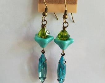Turquoise Blue Crystal Earrings, Green Crystal, Beaded Earrings, Summer Earrings Under 10