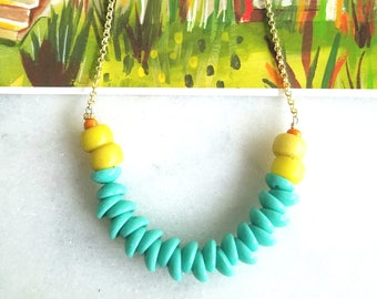 Turquoise, Yellow and Orange Necklace, Czech Glass Beads, Boho, Bohemian, Teal, Summer Jewelry