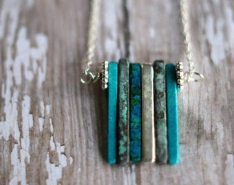 De-Stash Sale Ceramic Sea Spikes, Modern Necklace,  Teal Blue-Green, Metallic, Verdigris Green, Turquoise Green, Aqua, Silver