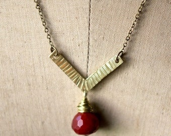 De-Stash Sale Boho Brass Pendant, Hammered Gold Brass Necklace, Red Gemstone Drop, Layering Necklace