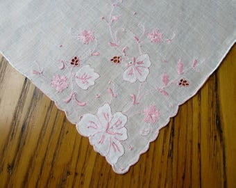 White Handkerchief, Pink Applique Flowers, Burmel? Unused Vintage Hanky, Pink Hanky, Cut Work, Embroidered Hanky, Madeira Linen, Hand Rolled