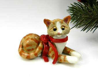 Orange Tabby Cat Christmas Ornament Figurine Red Bow Porcelain Clay