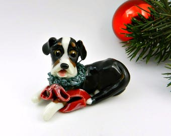 Greater Swiss Mountain Dog Christmas Ornament Wreath Porcelain