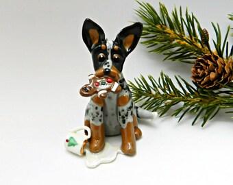 Australian Cattle Dog Christmas Ornament Figurine Santa's Cookie Porcelain