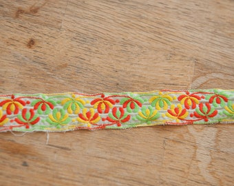 3 yards of Mod Vintage Trim -  60s 70s New Old Stock Woven Geometric Orange Lime Green Yellow
