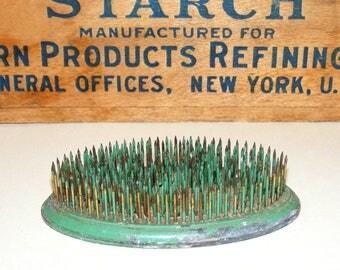 Vintage Green Oval Galvanized Metal Flower Frog Spike