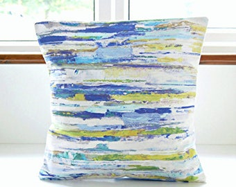 blue green white lilac lines cushion cover, 16 inch decorative pillow cover abstract art