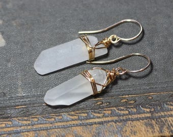 Quartz Point Earrings ~ Rustic Clear Raw Quartz Crystal Earrings ~ Gemstone Crystal Point Gold Wire Wrapped Earrings