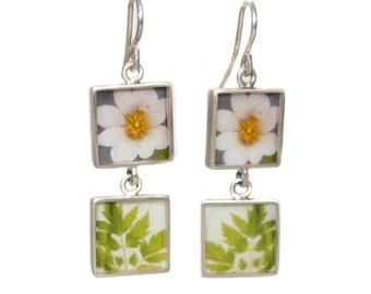 Double Silver Square/Flower & Leaves Earrings