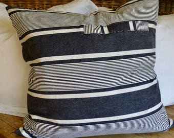 Vintage Lovely French Ticking Euro Pillow